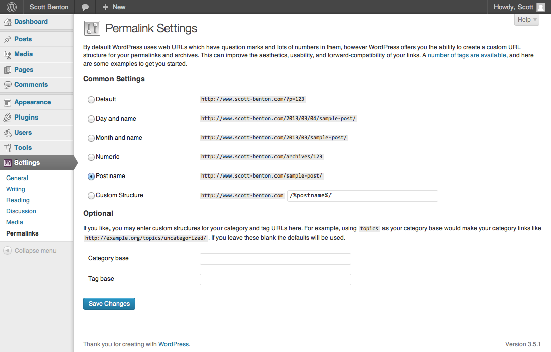 Screenshot of Fixed Permalinks Page